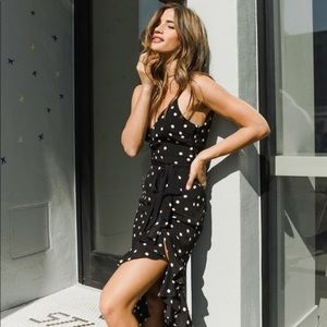 Revolve lovers and friends black polka dot dress